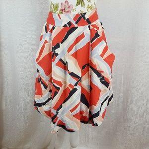 ODILLE Linen Paint Stroke Printed Full Skirt